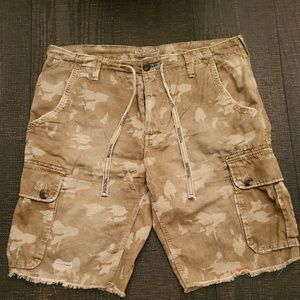 True Religion camo cutoff shorts